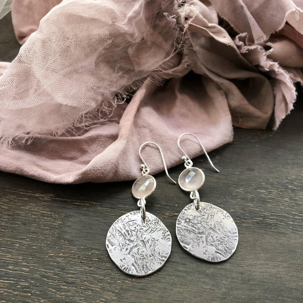 Round rose quartz earrings