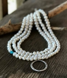 white pearl and silver necklace post