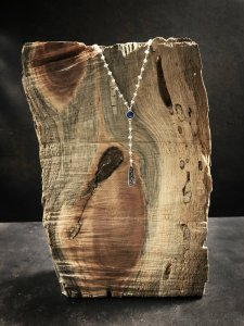 Loving this long pearl and blue onyx necklace - handmade by Rosa Kilgore