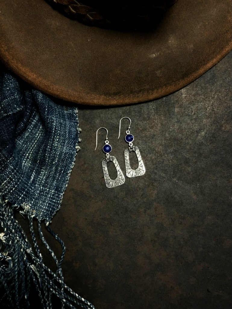 Loving these blue onyx and sterling silver earrings by Rosa Kilgore