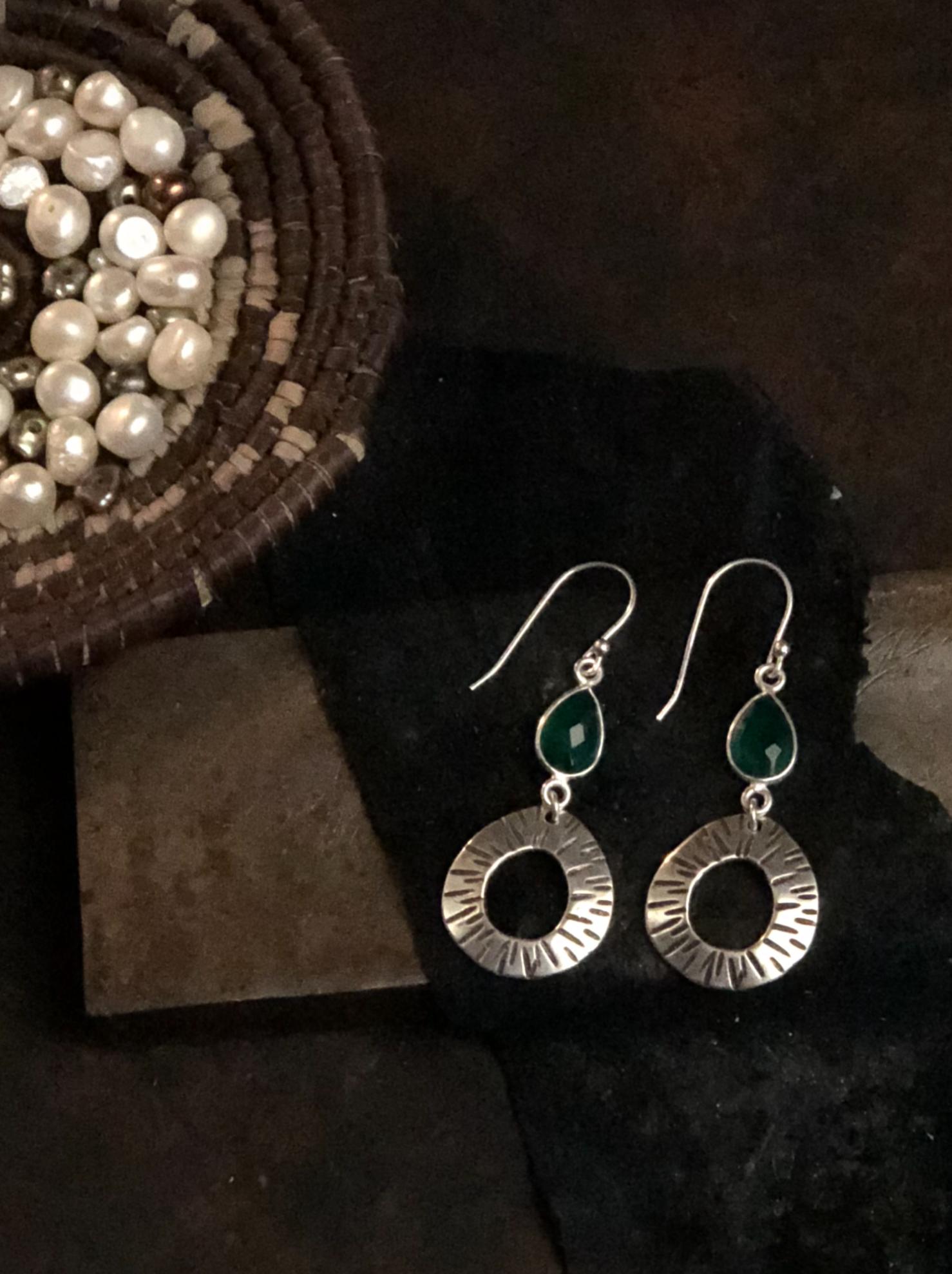 Green Onyx Hoop Earrings by Rosa Kilgore Jewelry