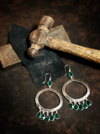 Boho Hoop Earrings with Green Onyx by Rosa Kilgore Jewelry